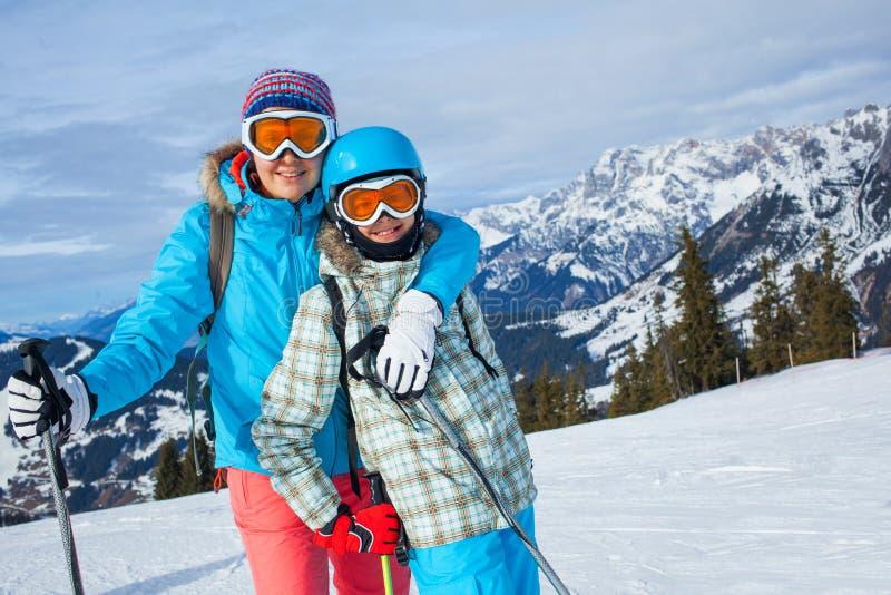 Ski, winter, snow, skiers royalty free stock photos