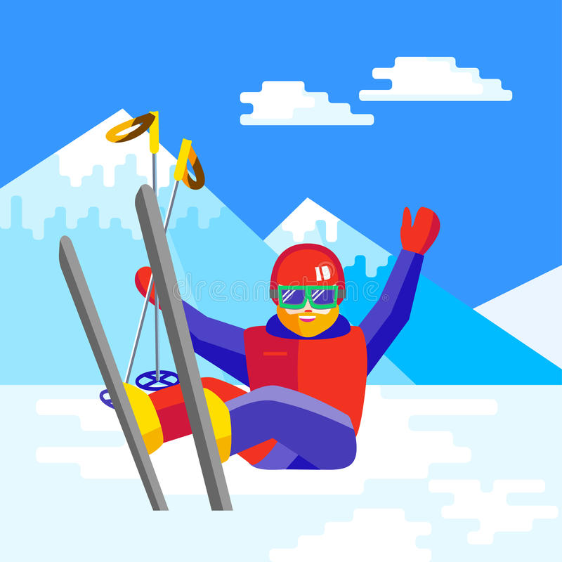 Ski, winter, snow, skiers and fun - family enjoying winter. Portrait of a bearded man skier in helmet and goggles having fun in the snow. Flat vector Cheerful stock illustration