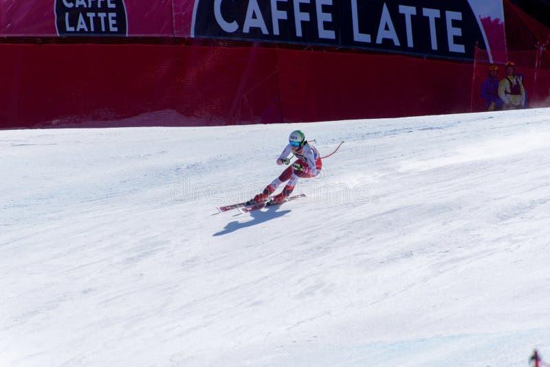 SKI-WORLD-FINALAUT Mirjam Puchner tar delen i den sluttande körningen för damer för det kvinnaLadie Downhill loppet S-DISIPLINA-S fotografering för bildbyråer