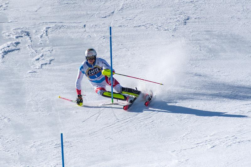 SKI-WORLD-FINALS- СЛАЛОМ - выпускные экзамены кубка мира горных лыж FIS MENÂ 2018/2019 на Soldeu-El более кислом в Андорре стоковые изображения rf