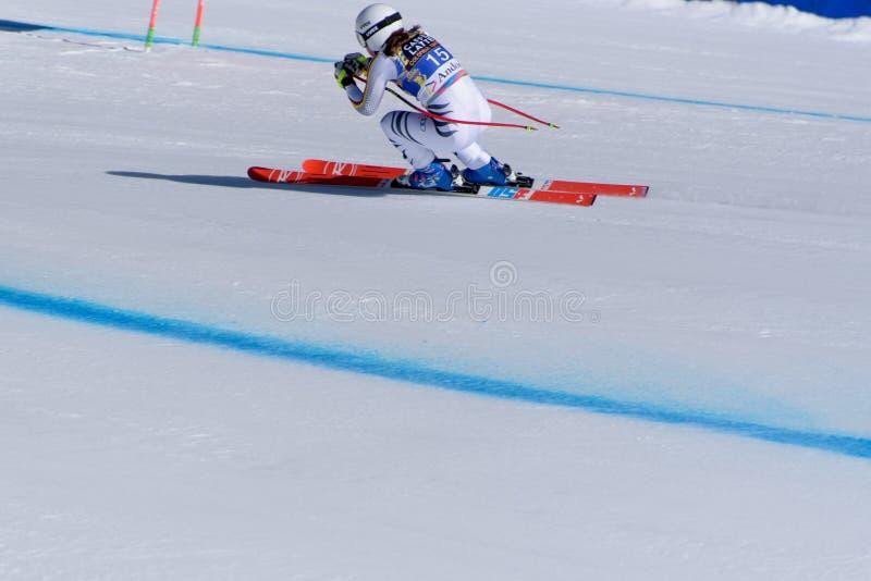 SKI-WORLD-FINALS-DISIPLINA-SEGER Kira Weidle participa en las señoras cuesta abajo corre para la raza de Ladie Downhill de la muj fotos de archivo libres de regalías