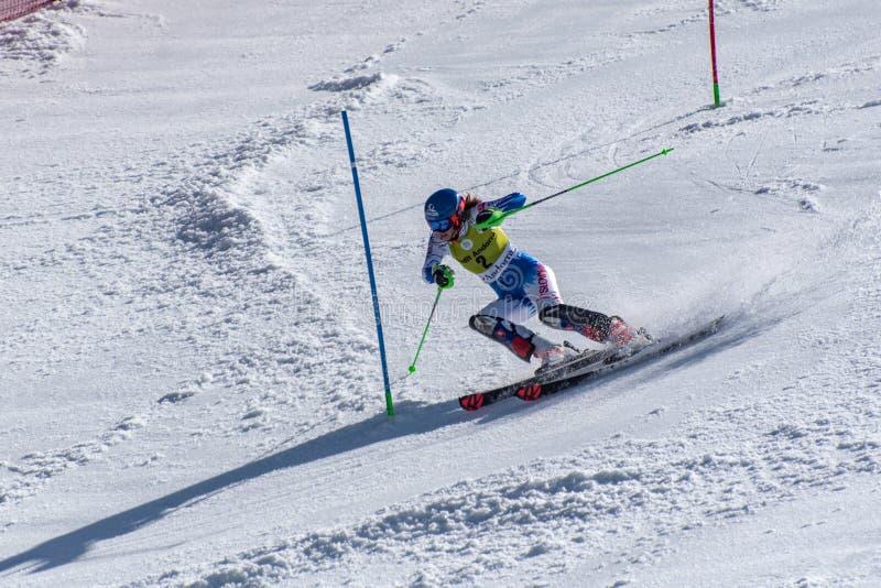 SKI-WORLD-FINALS- ESLALOM - el FIS Ski World Cup Finals alpino de MENÂ 2018/2019 en el Soldeu-EL más agrio en Andorra fotografía de archivo libre de regalías