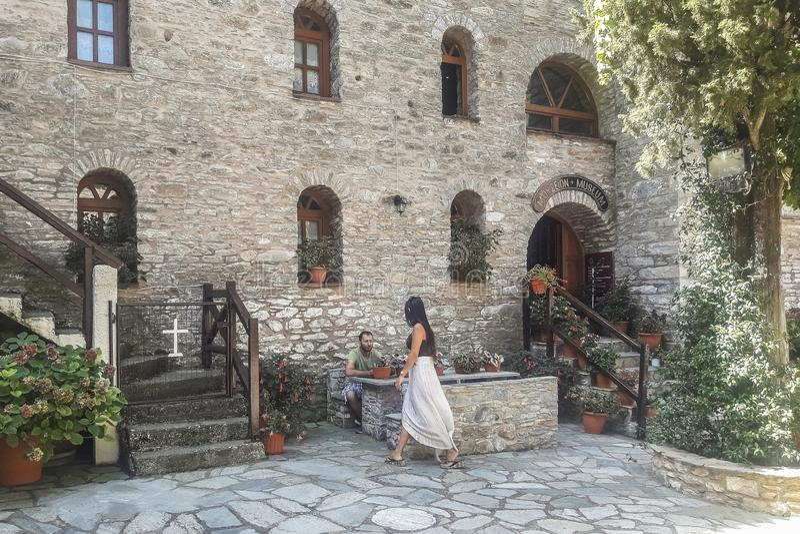 Skiathos海岛的修道院在希腊 库存图片