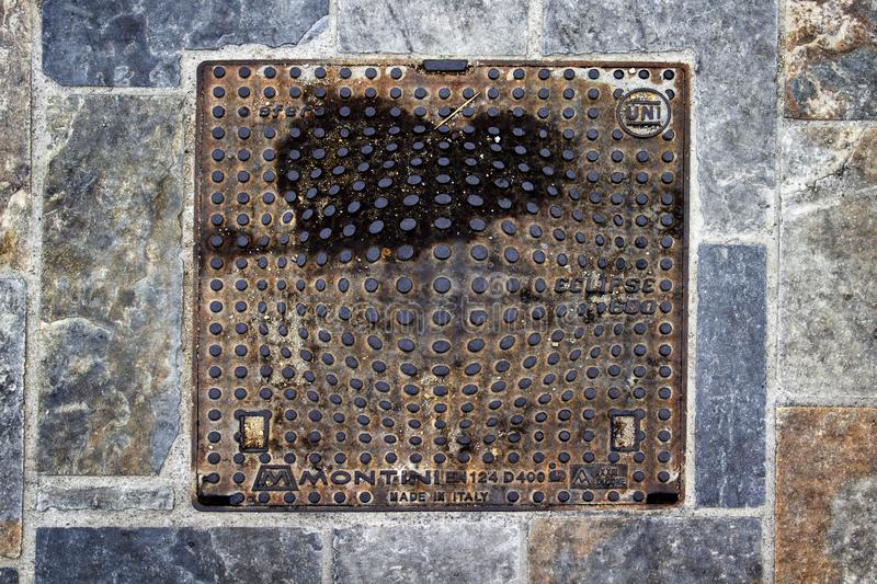 Manhole cover Skiathos Town, Skiathos, Greece, August 18, 2017 royalty free stock image