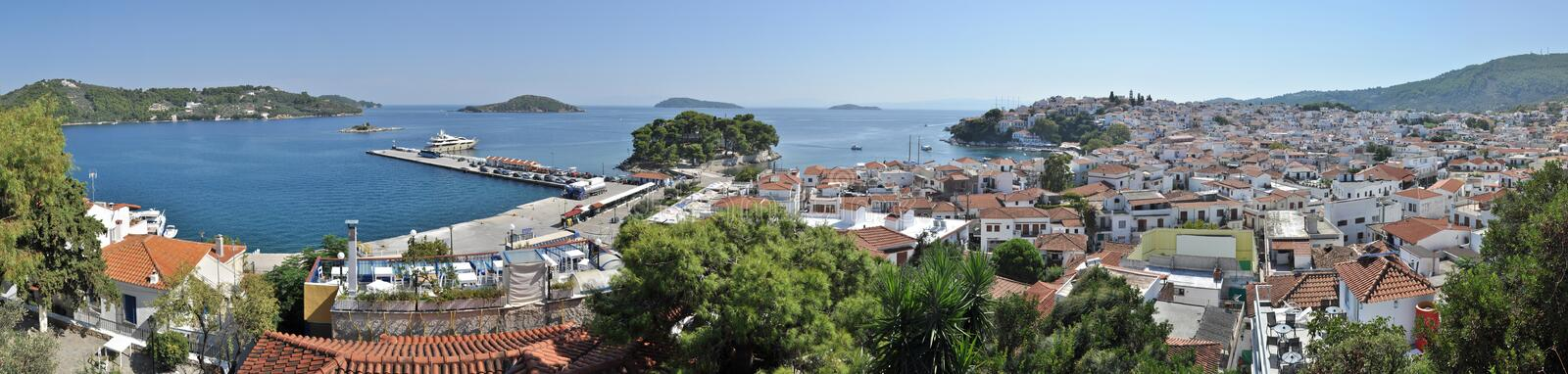 Skiathos panorama. The island of Skiathos is one of the major tourist attractions of the Aegean sea. Its impressive beaches, lush forests and emerald green sea royalty free stock image