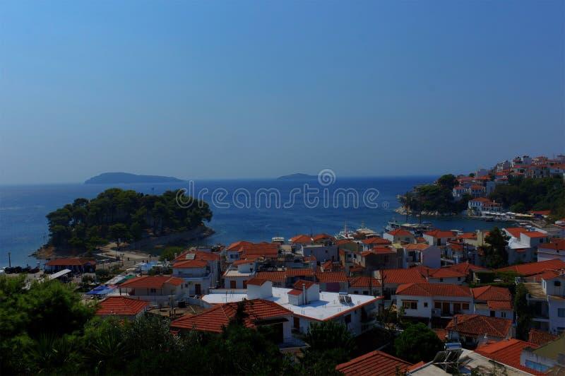 Skiathos port and city, Greece stock photo