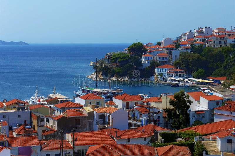 Skiathos port and city, Greece royalty free stock image