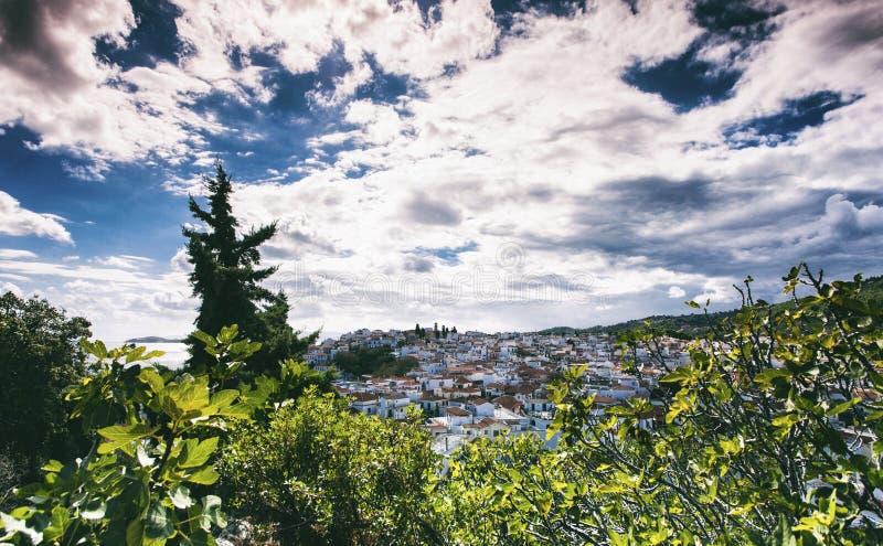 Skiathos stad i Grekland arkivfoto