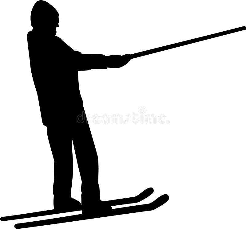 Skiaufzugschattenbild stock abbildung