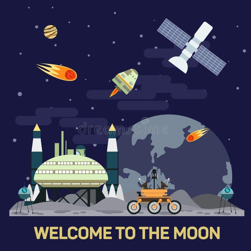 Skickar den plana illustrationen för vektorn av månekolonin med komet, meteor, krater, satelliter, baser, rover, i utrymme royaltyfri illustrationer