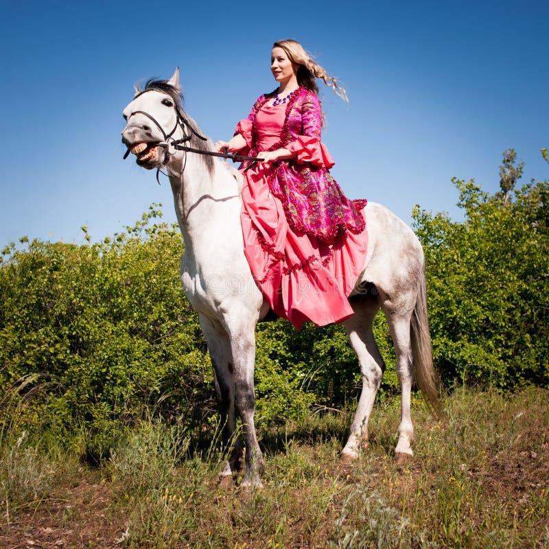 Skicklig ryttarinna på den vita hästen arkivfoto