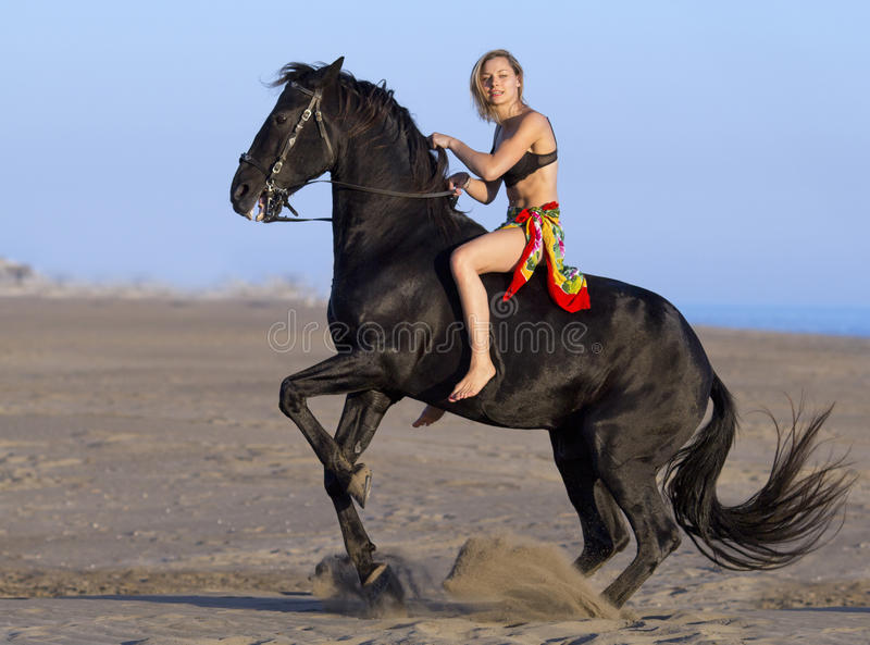 Skicklig ryttarinna på stranden arkivfoto