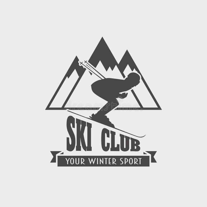 Skiclub und Snowboardingerholungsortlogo-, -emblem-, -aufkleber- oder -ausweiselement mit Skifahrer und Berg stock abbildung