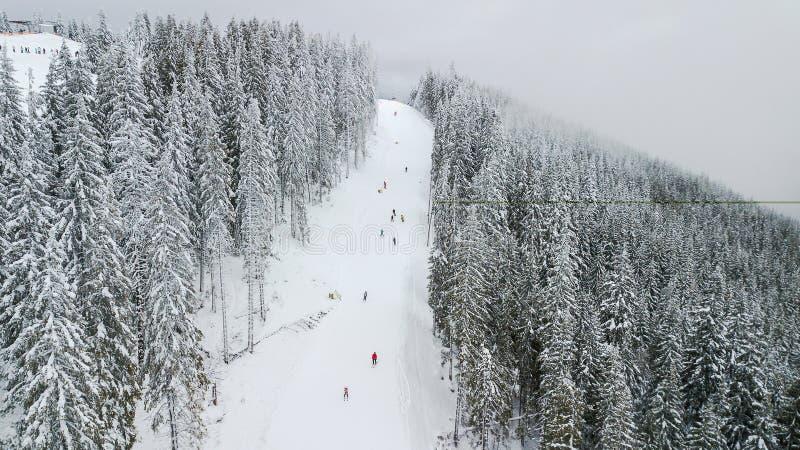 Skidåkare och snowboarders går ner lutningen i en skidasemesterort Bukovel, Ukraina arkivbild