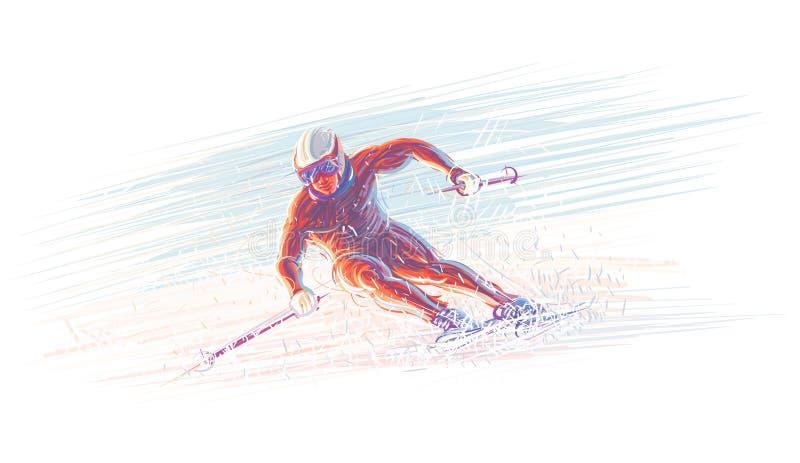 Skidåkare/olimpic illustration för vinter vektor 10 eps stock illustrationer