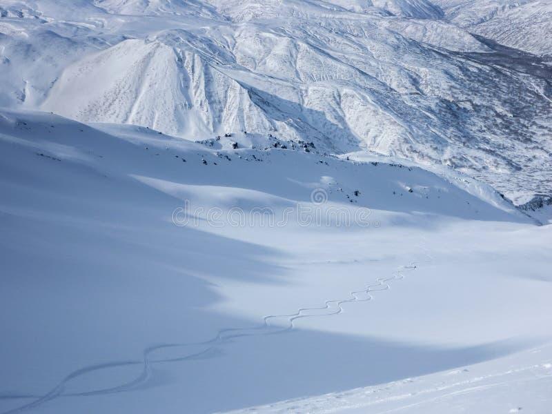 Skidåkare som gör nya spår i den orörda snön ner en dal royaltyfria foton