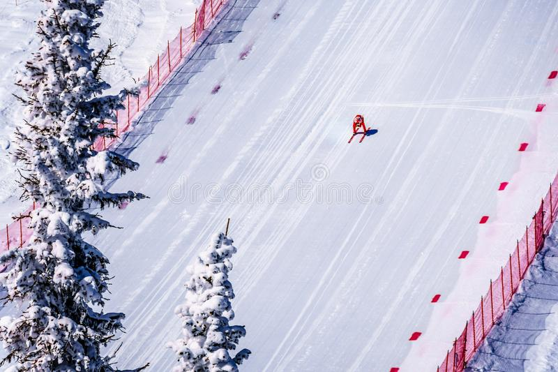 Skidåkaren som springer ner den branta hastighetsskidåkninglutningen på hastighetsutmaningen och FIS-hastighet Ski World Cup Race arkivfoton
