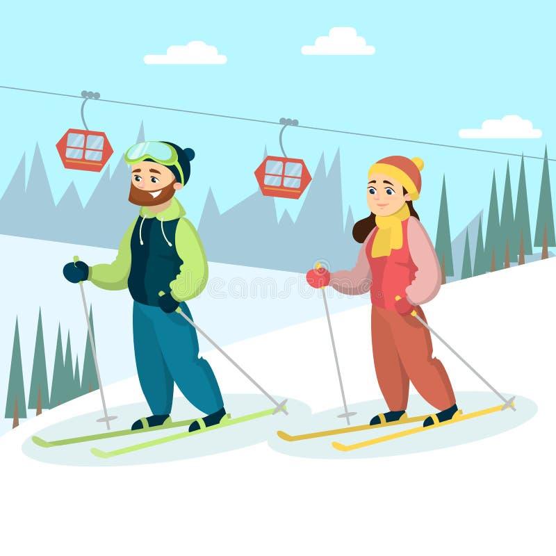 Skidåkarepar i snö vektor illustrationer