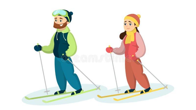 Skidåkarepar i snö royaltyfri illustrationer