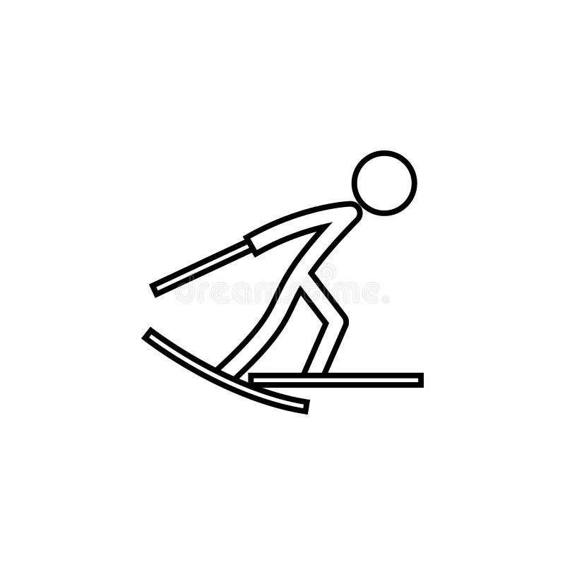 Skidåkning vinter, sportöversiktssymbol Beståndsdel av illustrationen för vintersport Tecknet och symbolsymbolen kan användas för stock illustrationer