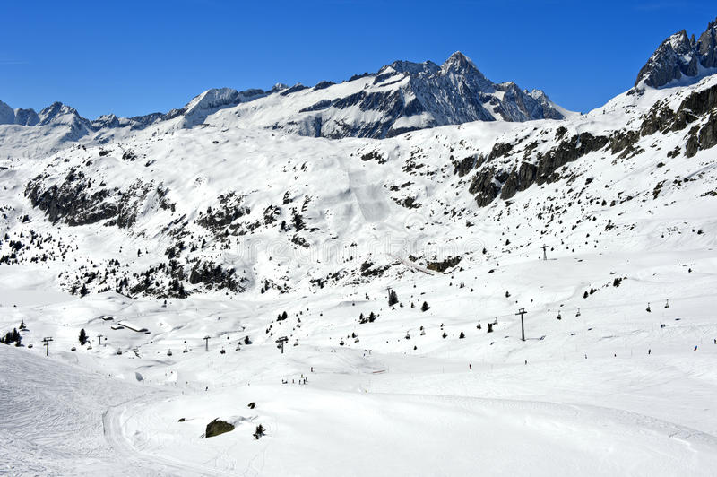 Skidåkningområde Aletscharena fotografering för bildbyråer
