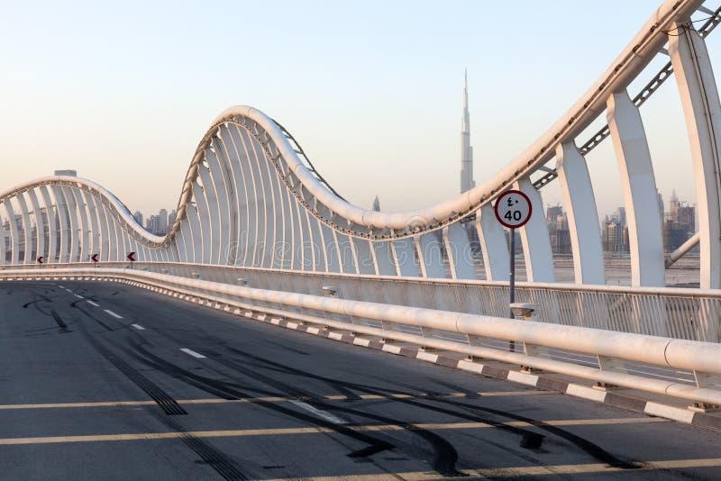 Skid Marks at the Meydan Bridge in Dubai stock photography