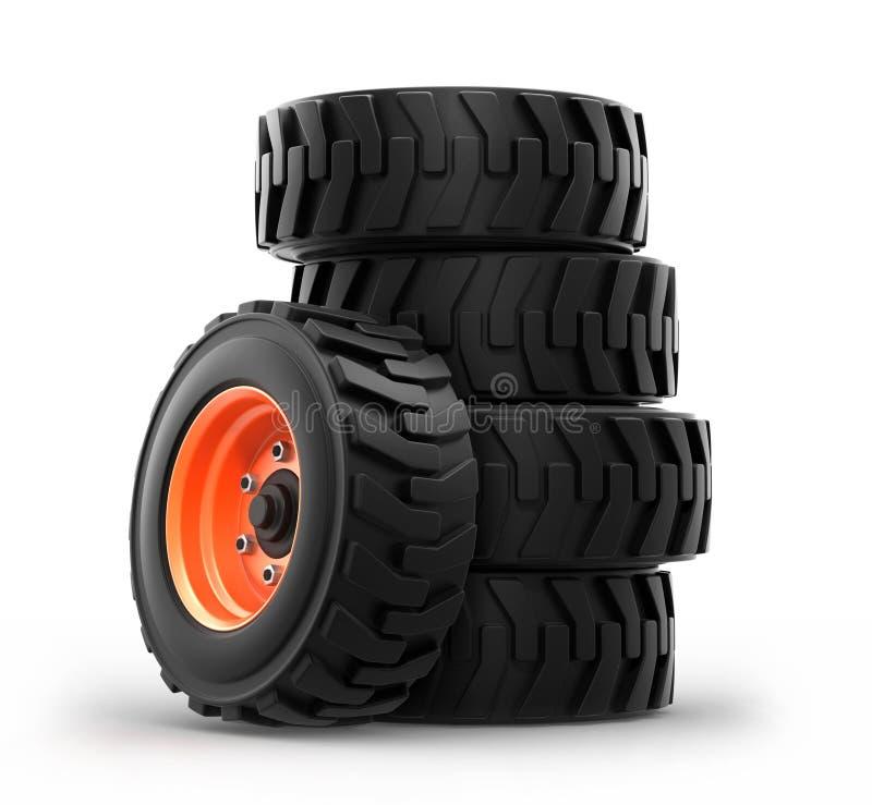 Skid steer loader wheels vector illustration