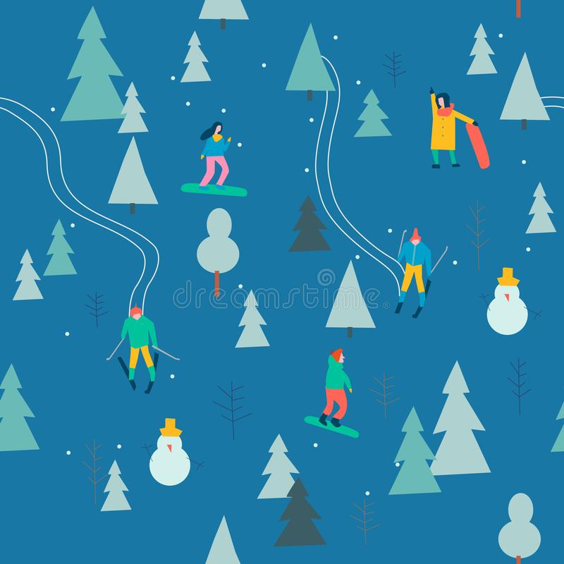Skida sömlös modell med folkskidåkning och snowboarding i snöskogen i vektor stock illustrationer