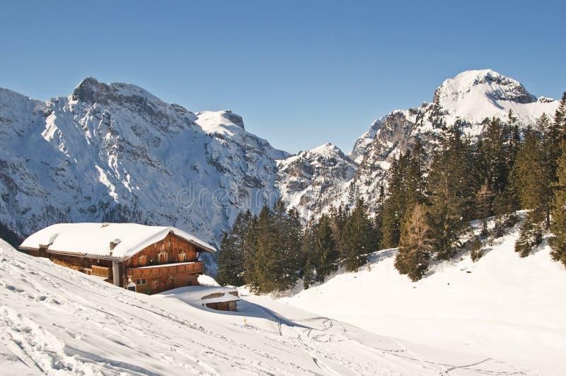 Skida semesterorten i alps arkivbilder