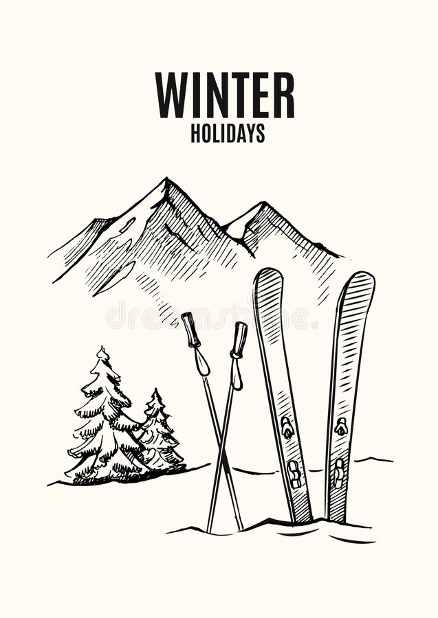 skida snow stock illustrationer