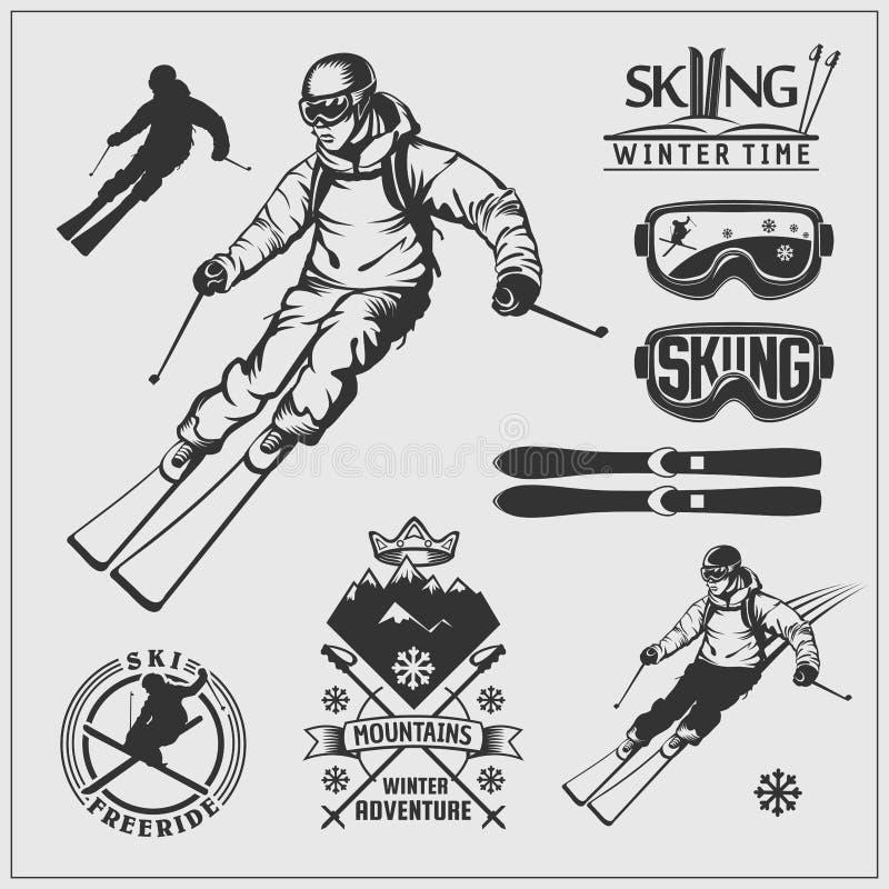 Skida uppsättning Skidar skidar utrustning och satsen Extrema vintersportar royaltyfri illustrationer