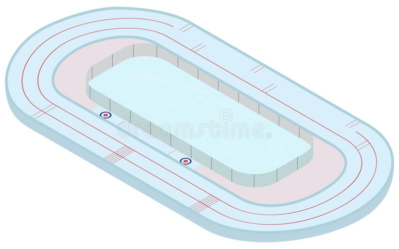 skida vintern för snowsportspår Isometrisk multifunctional stadion för att åka skridskor, hastighet som åker skridskor och att kr stock illustrationer