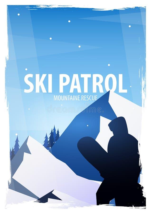 skida vintern för snowsportspår skida snowboarden stora liggandebergberg Snowboarder i rörelse också vektor för coreldrawillustra royaltyfri illustrationer