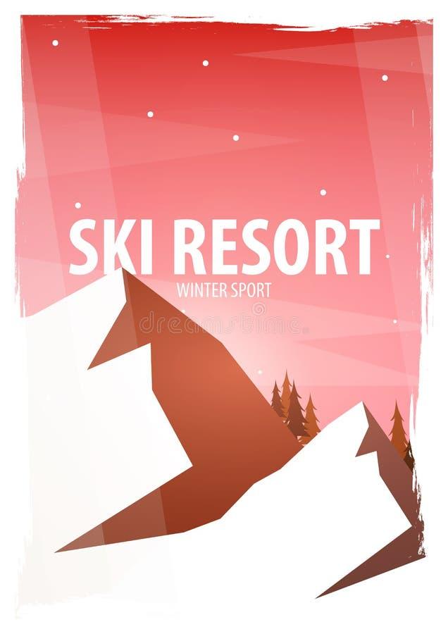 skida vintern för snowsportspår skida snowboarden stora liggandebergberg Snowboarder i rörelse också vektor för coreldrawillustra stock illustrationer
