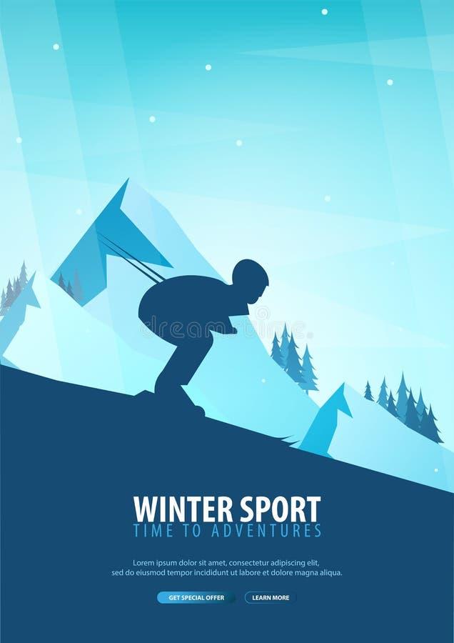 skida vintern för snowsportspår skida snowboarden stora liggandebergberg Snowboarder i rörelse också vektor för coreldrawillustra vektor illustrationer