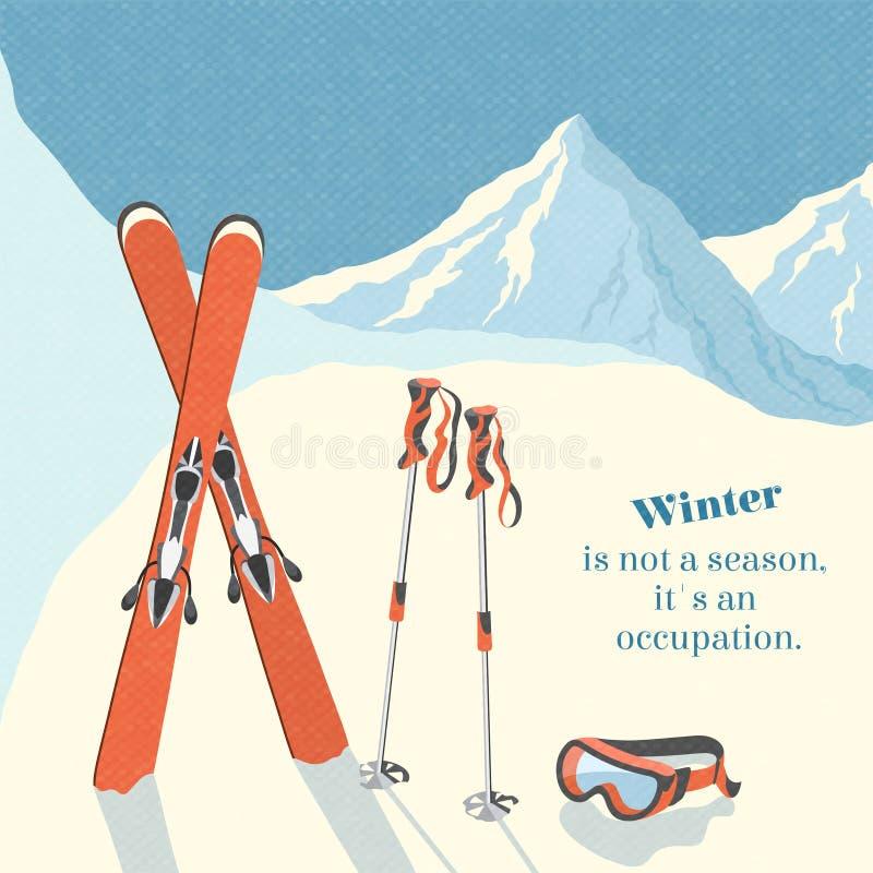 Skidar bakgrund för vinterberglandskapet stock illustrationer