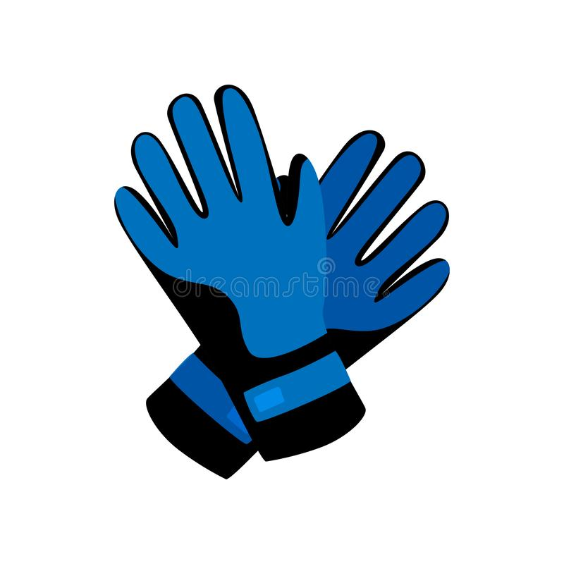 Skidar blåa vinterhandskar för sporten för eller snowboardingaktivitet vektor illustrationer