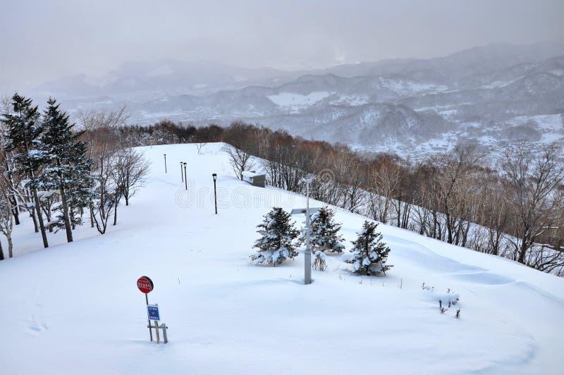 Skidar fältet på Mt Moiwa Hokkaido Japan arkivbild