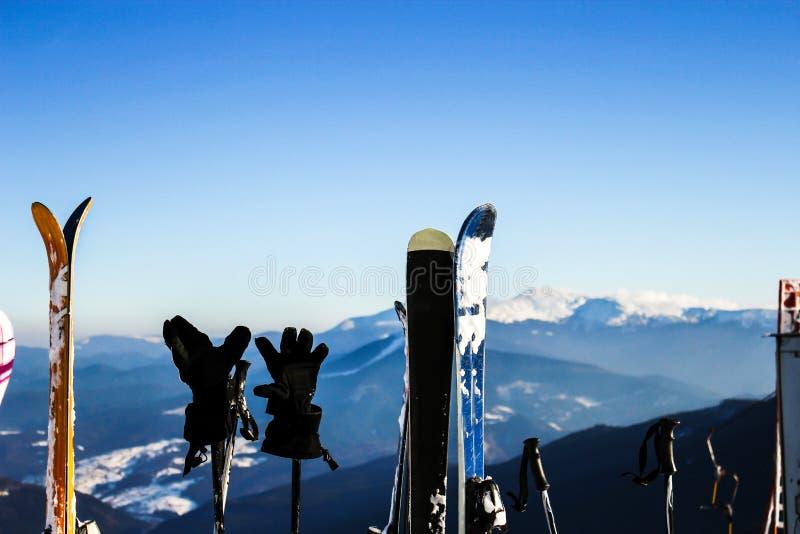 Skidar i snö på berg Skidar med poler för aktiv vintersemester i berg royaltyfri foto
