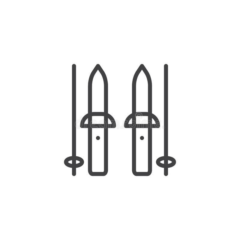 Skidar och pinneöversiktssymbolen royaltyfri illustrationer