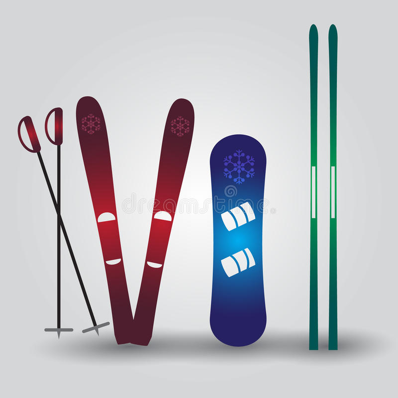 Skidar och snowboarden eps10 royaltyfri illustrationer