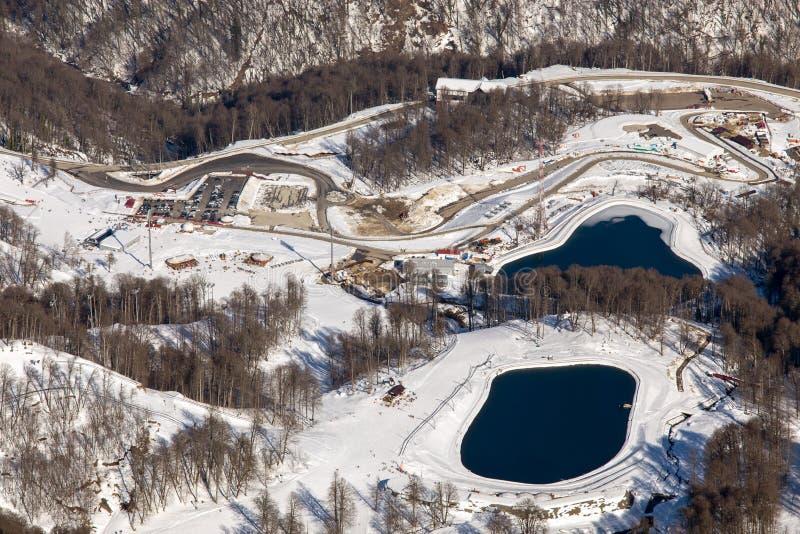 Skidar semesterorten Rosa Khutor Berg av Krasnaya Polyana för russia sochi för 2014 2018 kopplekar olympic värld vinter royaltyfri bild