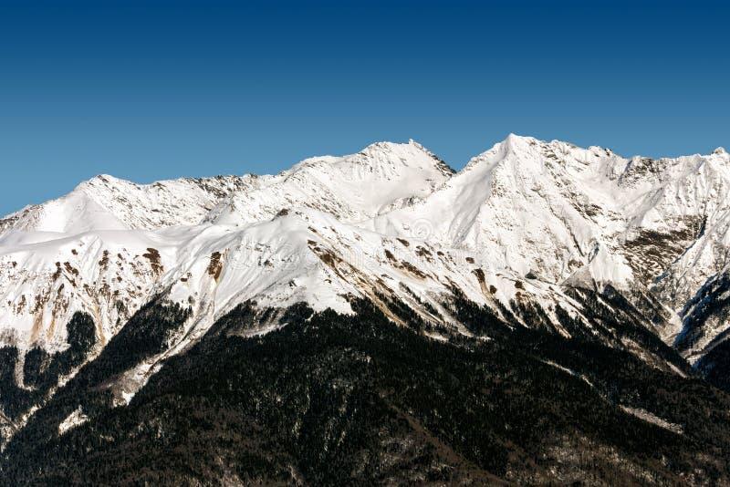 Skidar semesterorten Rosa Khutor Berg av Krasnaya Polyana för russia sochi för 2014 2018 kopplekar olympic värld vinter arkivfoton