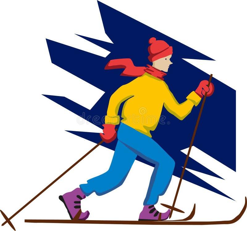 Skidar skidåkaren, illustrationen, vintern, vit, folket som isoleras, sporten, skidåkning, konturn, affären, snö, 3d, sportar, po vektor illustrationer