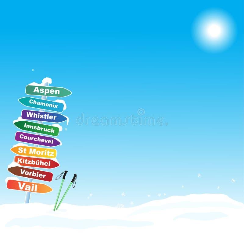Skidar turillustrationen med berömt skidar destinationer vektor illustrationer