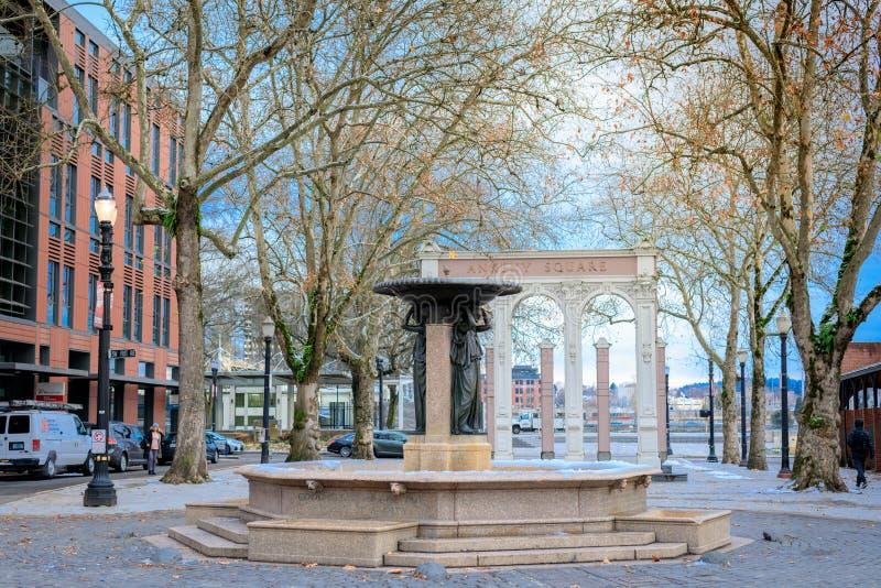 Skidmore喷泉,是一个历史的喷泉在老镇Dist 免版税库存图片