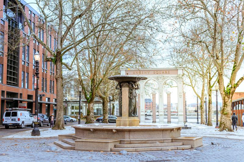 Skidmore Fountain, which is a historic fountain in Old Town Dist. Portland, Oregon, United States - Dec 24, 2017 : Skidmore Fountain, which is a historic royalty free stock image