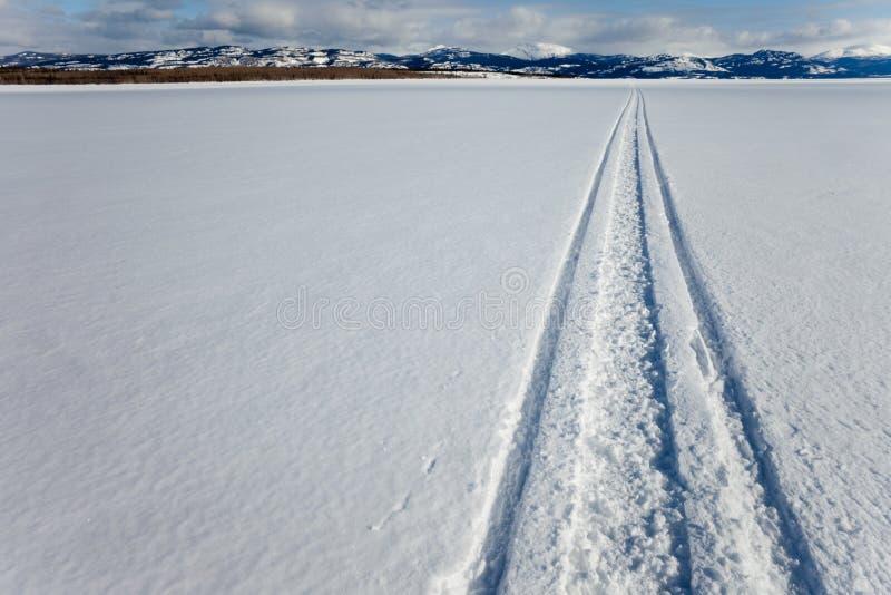 Skidoo Spur auf gefrorenem See stockbild