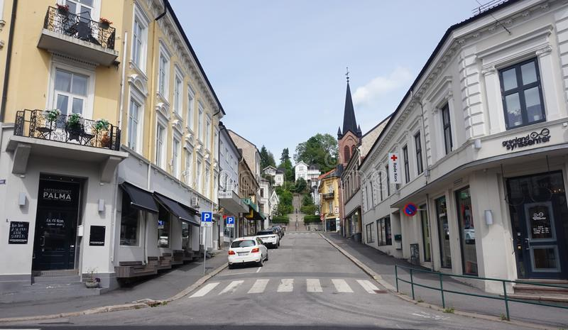 Skien city center, Telemark county, Norway. Skien, Norway. June 2018. City center of Skien, a city and municipality in Telemark county, Norway. It is part of the stock images