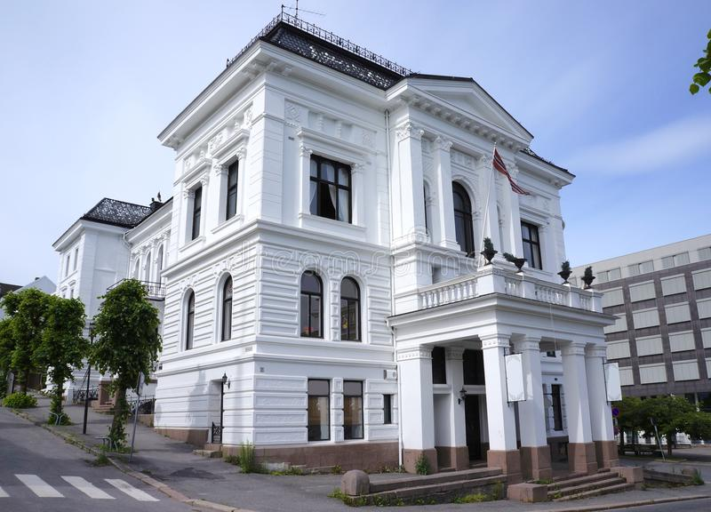 Skien city center, Telemark, Norway. Historical building in the city center of Skien, a city and municipality in Telemark county, Norway. It is part of the stock photography